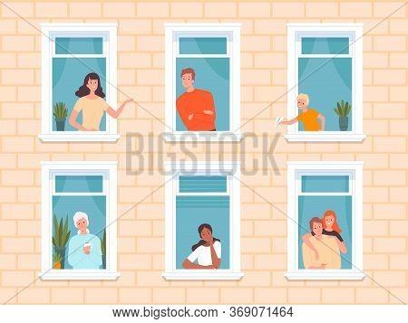 Window People. Happy Neighbourhoods Characters Looking From Windows Frame In Big House Standing Near