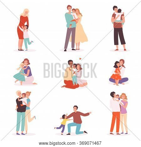 Family Embrace. Happy Parents Hugging Smiling Kids Comforted Childhood Mother Kisses Vector Cartoon
