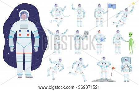 Cosmonaut Costume. Professional Clothes Of Astronaut Vector Flat Characters In Action Poses. Astrona