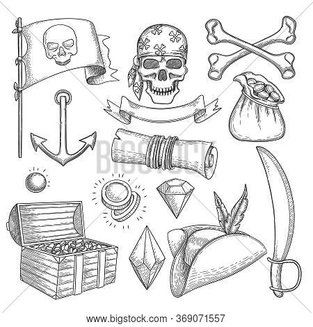 Pirate Items. Ship Sea Adventure Elements Treasure Chest Cross Star Map Nautical Symbols Vector Pira