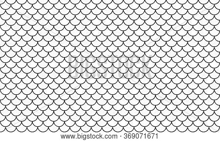 Line Art Of Fish Scale Pattern Isolated On White Background, Tile Pattern Line, Mermaid Tail Pattern
