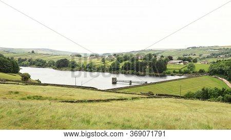 Lower Raithe Reservoir.  A View Across The West Yorkshire Countryside Towards Lower Raithe Reservoir
