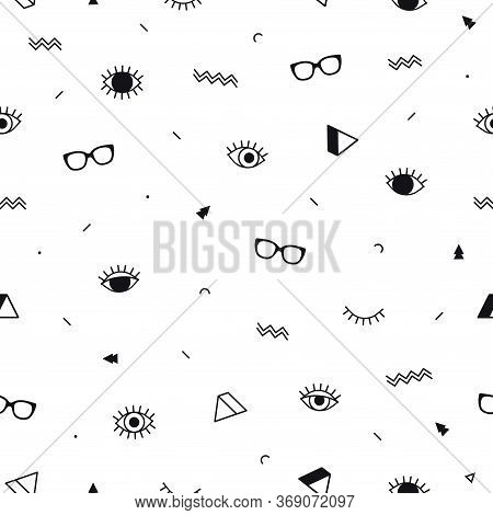 Glasses Eyes Seamless Pattern On White Background And Geometric Shapes In Memphis Style. Eyeglasses.