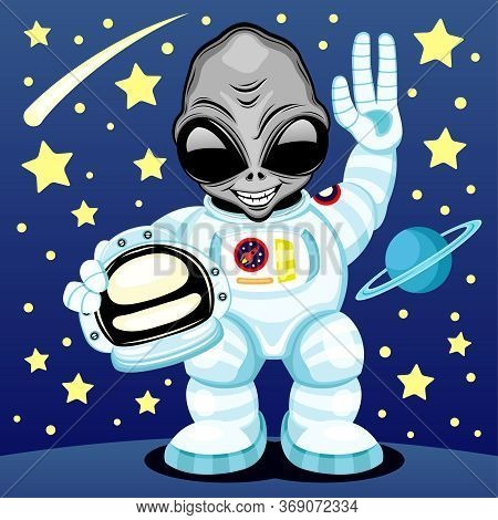 Illustration With An Extraterrestrial Alien In An Astronaut Costume On Space Background.