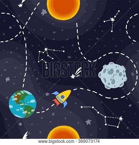 Galaxy Seamless Pattern Design. Rocket Space Travel. Cute Design For Kids Fabric And Wrapping Paper.