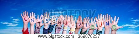 Children Hands Building Word Entschuldigung Means Apology, Blue Sky