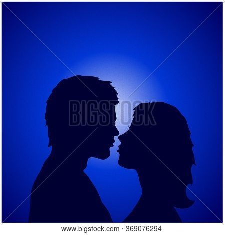 Male And Female Couple Silhouette Coddling Over Romantic Blue Gradient Background