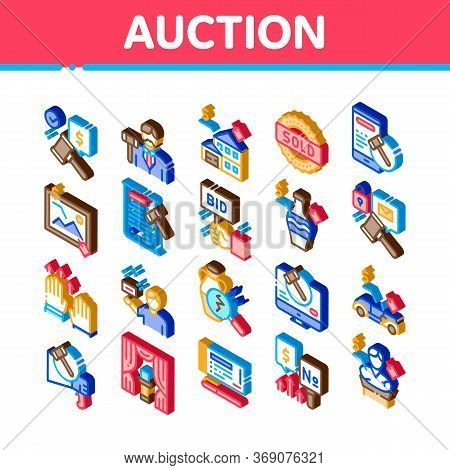 Auction Buying And Selling Goods Icons Set Vector. Isometric Internet Auction And Application, Hamme