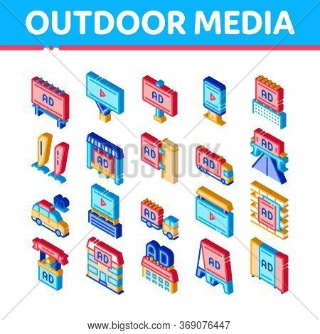 Outdoor Media Advertising Promo Icons Set Vector. Isometric Advertising Billboard And Tablet, Poster