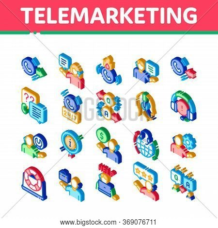 Telemarketing Sale Icons Set Vector. Isometric Telemarketing Help And Information Research, Calling