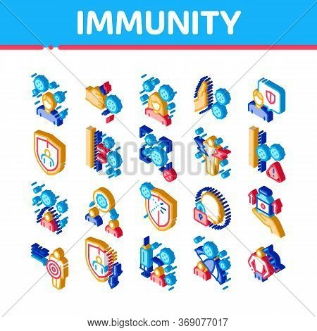 Immunity Human Biological Defense Icons Set Vector. Isometric Protective Bacterias, Syringe And Shie