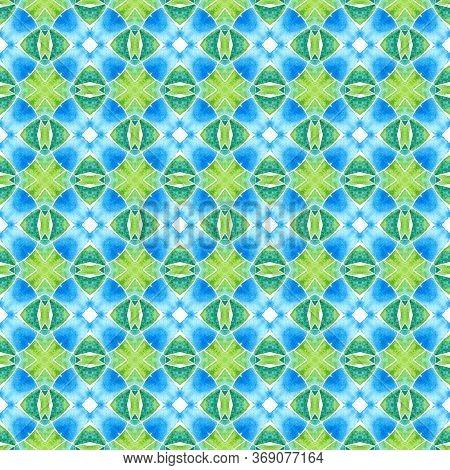 Chevron Watercolor Pattern. Green Actual Boho Chic Summer Design. Textile Ready Vibrant Print, Swimw