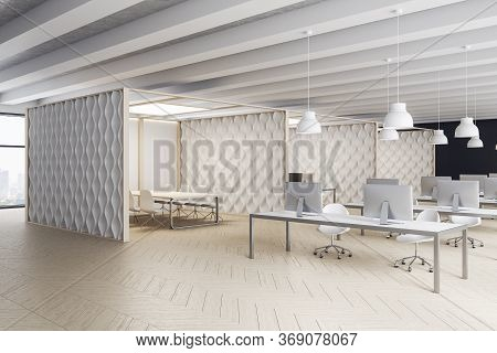 Contemporary Office Interior With Computers On Table And Decorative White Wall. Workplace And Lifest