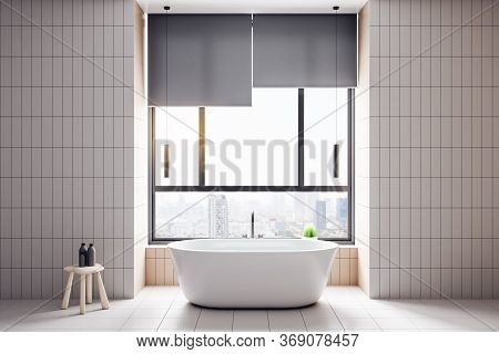 Modern Bathroom Interior With White Bath And City View. Style And Hygiene Concept. 3d Rendering