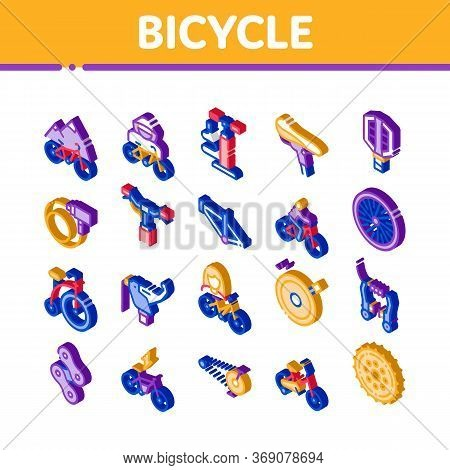 Bicycle Bike Details Icons Set Vector. Isometric Mountain Bicycle Wheel And Seat, Brake And Frame, C