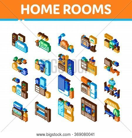 Home Rooms Furniture Icons Set Vector. Isometric Sofa And Table, Lamp And Chair, Fireplace And Rocki