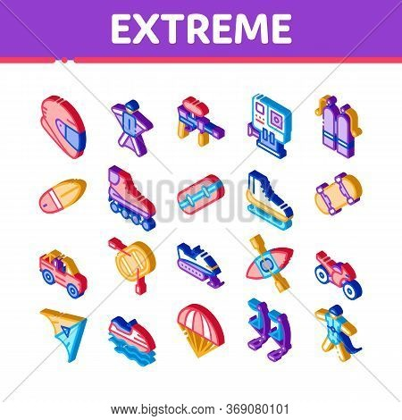 Extreme Sport Activity Icons Set Vector. Isometric Bike And Crash Helmet, Parachute And Hang-glider