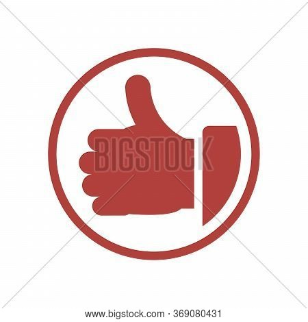Thumb Up Vector Icon. Flat Orange Symbol. Pictogram Is Isolated On A White Background. Designed For