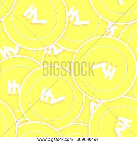 Indian Rupee Gold Coins Seamless Pattern. Delightful Scattered Yellow Inr Coins. Success Concept. In