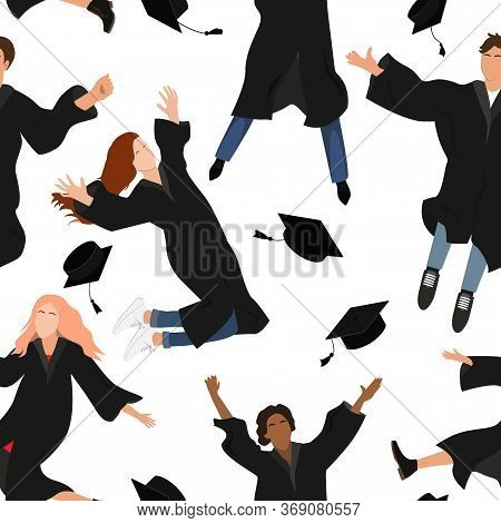 Seamless Pattern With Young Graduate Students In Graduation Clothing Jumping And Throwing The Mortar