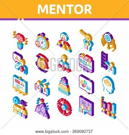 Mentor Relationship Icons Set Vector. Isometric Human Holding Key And Gear, Stopwatch And Mountain W