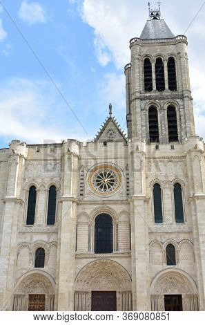 Basilica Of Saint-denis. Facade And Bell Tower. Paris, France.