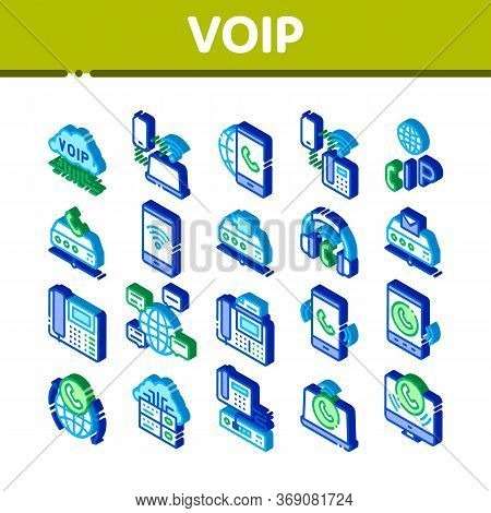 Voip Calling System Icons Set Vector. Isometric Server For Voice Ip And Cloud, Smartphone And Phone,
