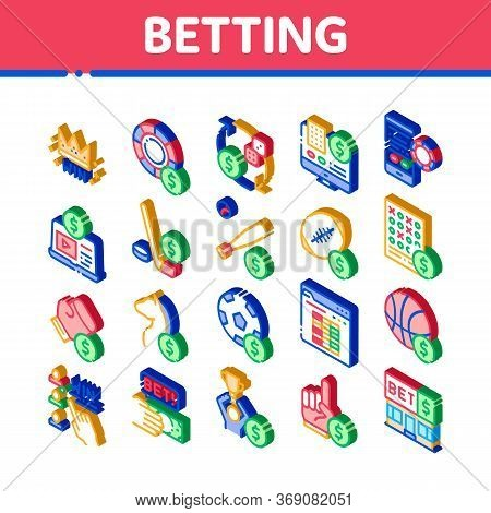 Betting And Gambling Icons Set Vector. Isometric Basketball And Baseball, Hockey And Boxing, Horse R