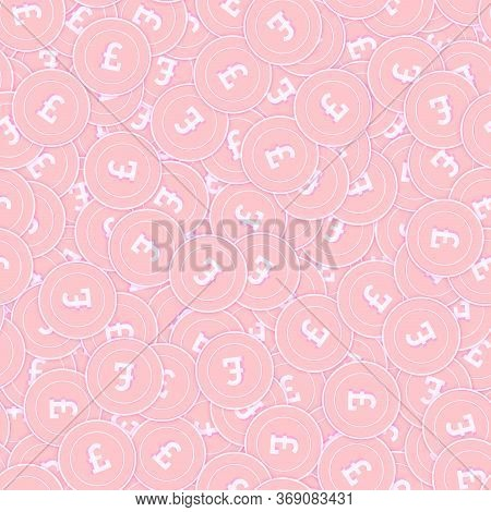 British Pound Copper Coins Seamless Pattern. Excellent Scattered Pink Gbp Coins. Success Concept. Un