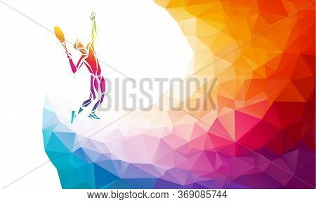 Creative Silhouette Of Tennis Player. Racquet Sport Vector Illustration Or Banner Template In Trendy