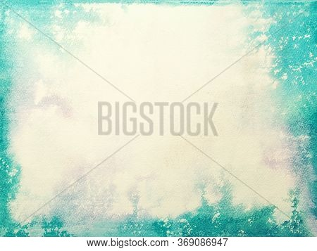 Texture Of Old Beige Paper, Crumpled Background. Vintage White Grunge Surface Backdrop With Turquois