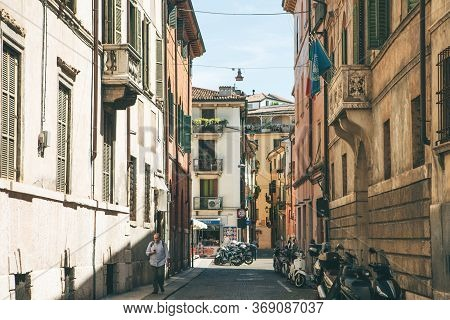 Italy, Verona, June 01, 2019: View Of A Traditional Italian Street With Ancient Architecture