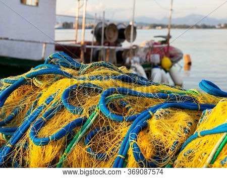 Fishing Nets And Fishing Boat. Mediterranean Sea, Greece, Preveza