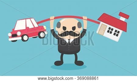 Elderly Businessman Is Carrying A Huge Burden On Both The House And The Car, But His Expression Show