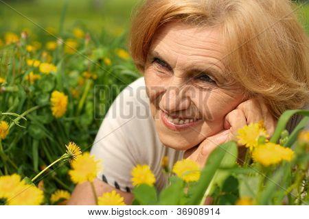 Elegant lady enjoys union with nature