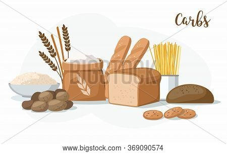 Carbs Food: Bakery Products, Potatoes, Pasta, Flour And Rice Isolated On White.
