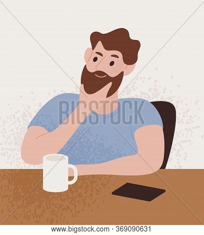 Pensive Bearded Guy Sitting At Table With Thoughtful Face Expression Vector Flat Illustration. Male