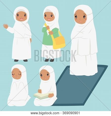 Muslim African American Girl Daily Activities. Muslim Girl Ready For School, Reading Quran, Praying,