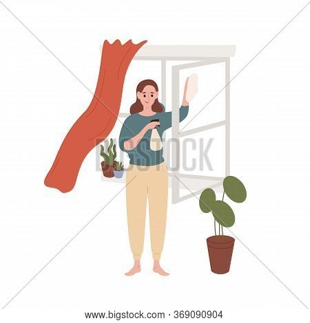 Smiling Housewife Cleaning Window At Home Vector Flat Illustration. Cute Female Enjoying Housework I