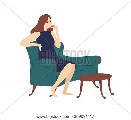Elegant Woman Drinking Wine Sitting On Couch Vector Flat Illustration. Joyful Female Relaxing At Hom
