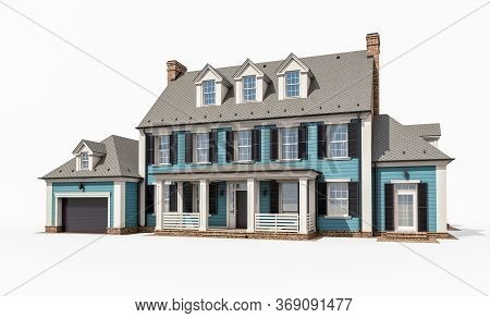 3D Rendering Of Modern Classic House In Colonial Style Isolated On White