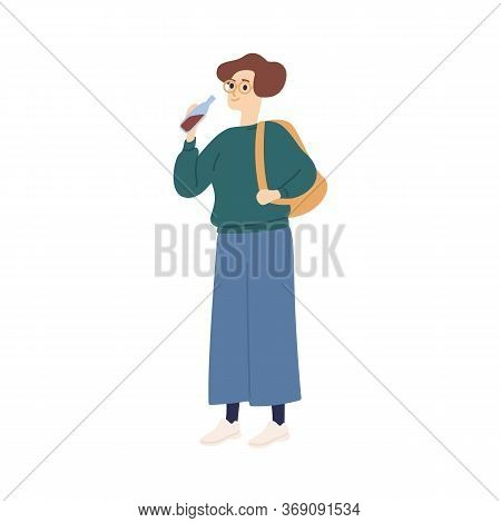 Casual Student Woman With Backpack Drinking Soda Beverage Vector Flat Illustration. Colorful Female