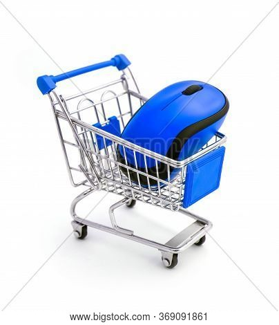 Blue Computer Wireless Mouse In Shopping Trolley Isolated On White.