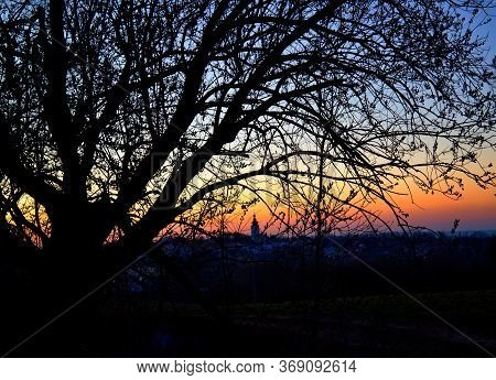 Colorful Sunset Over The City Over The Treetops, Evening Romance