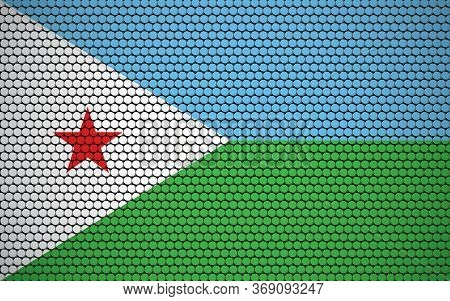 Abstract Flag Of Djibouti Made Of Circles. Djiboutian Flag Designed With Colored Dots Giving It A Mo