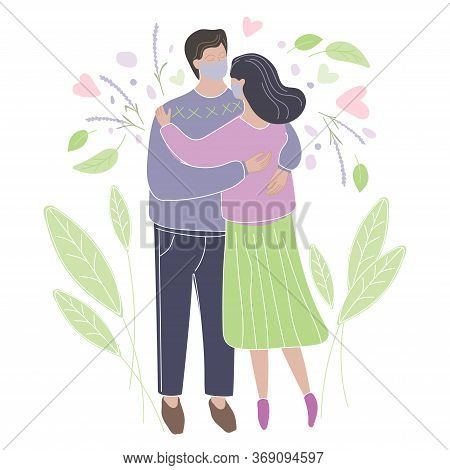 Men And Women On Date With Medical Mask. Isolation Is Over. Romantic Couple Hugging. Couple Greet Af