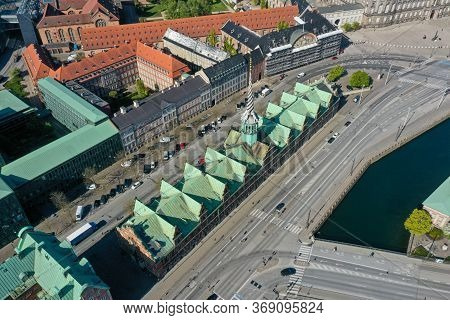 Copenhagen, Denmark - May 7, 2020: Aerial Drone View Of The Old Stock Exchange Building Called Borse
