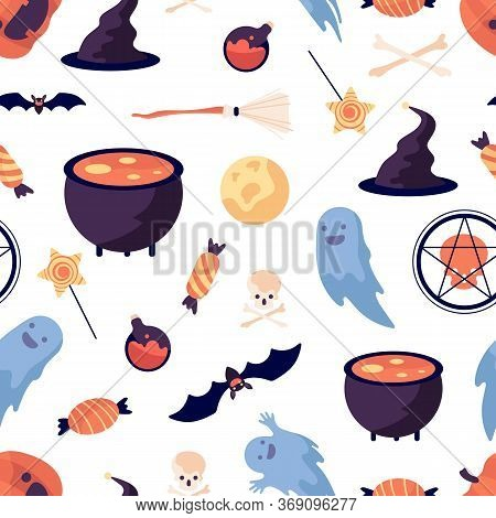 Halloween Pattern. Pumpkin Bat Witch Broomstick And Hat. Party Elements Print, Trick Or Threat Vecto