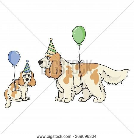 Cute Cartoon Cocker Spaniel Dog And Puppy With Party Hat Vector Clipart. Pedigree Kennel Dog Lovers.