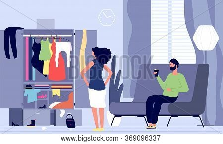 Man Waiting Woman. Family Going To Go For Walk, Evening Date. Girl Has Nothing To Wear. Female Stand